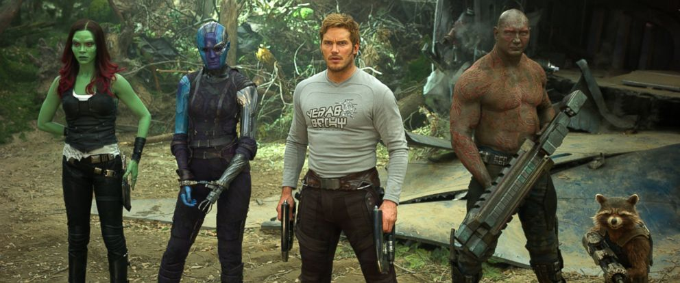 "PHOTO: Zoe Saldana, left, Karen Gillan, Chris Pratt, Dave Bautista and Rocket, voiced by Bradley Cooper, in a scene from, ""Guardians Of The Galaxy Vol. 2."""
