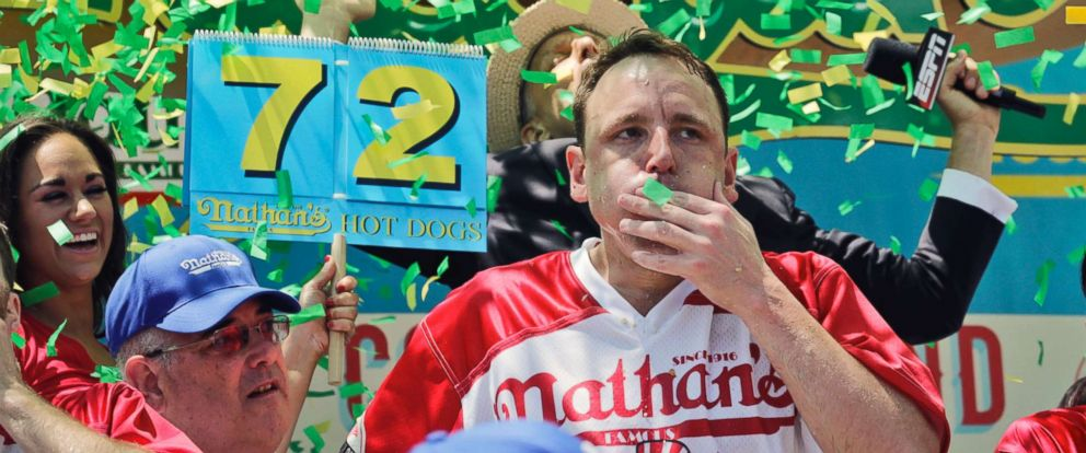 PHOTO: Joey Chestnut wins the Nathans Famous Hot Dog Eating Contest, marking his 10th victory in the event pm July 4, 2017, in Brooklyn, New York. He downed 72 hot dogs and buns in 10 minutes.