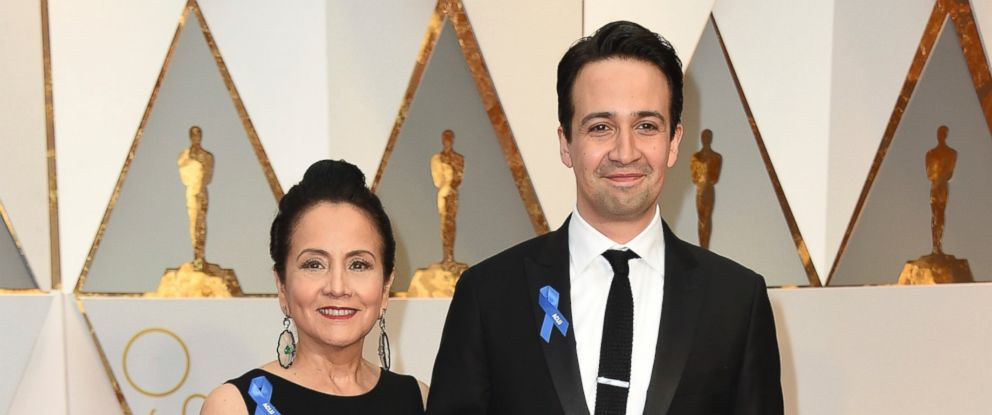 PHOTO: Luz Towns-Miranda, left, and Lin-Manuel Miranda arrive at the Oscars on Feb. 26, 2017, at the Dolby Theatre in Los Angeles.