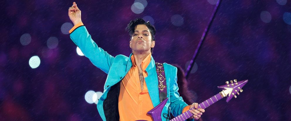PHOTO: Prince performing during the halftime show at the Super Bowl XLI NFL football game at Dolphin Stadium in Miami, Florida, Feb. 4, 2007.