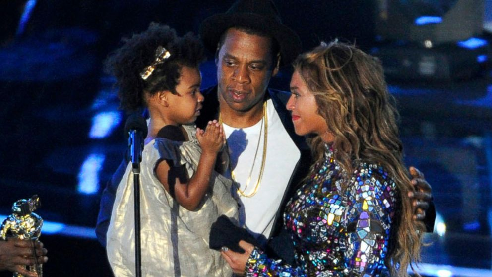 Beyonce on stage with Jay Z and their daughter Blue Ivy as she accepts the Video Vanguard Award at the MTV Video Music Awards in Inglewood, Calif.