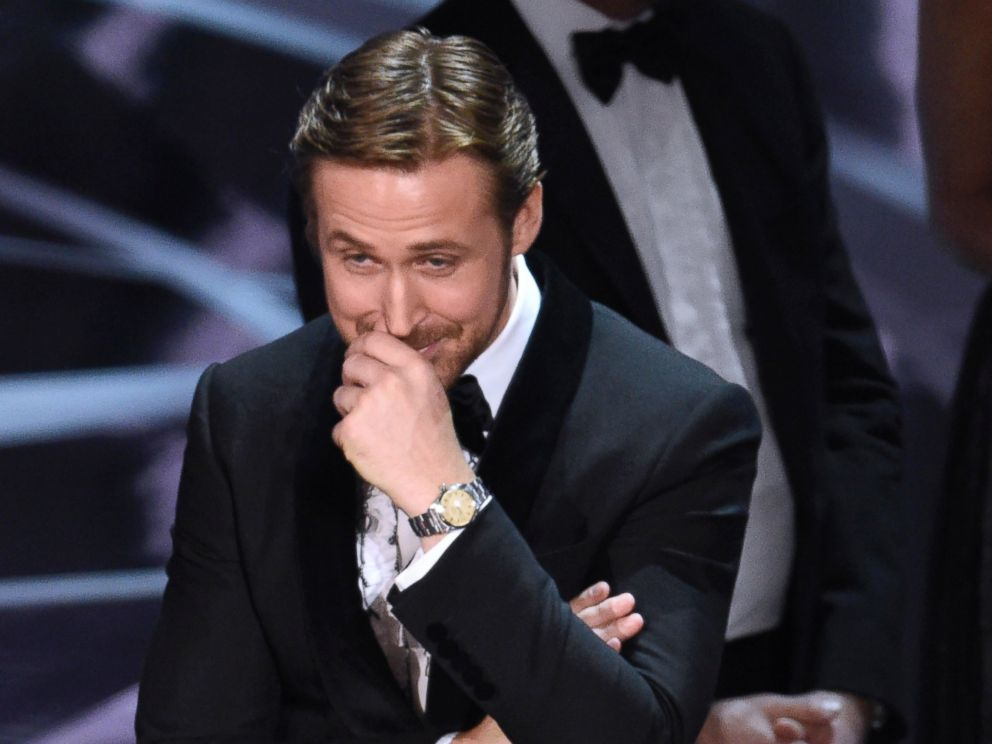 PHOTO: Ryan Gosling reacts as the true winner of best picture is announced at the Oscars, Feb. 26, 2017, in Hollywood, Calif.
