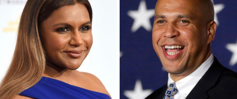 PHOTO: Pictured (L-R) are Mindy Kaling in Beverly Hills, Calif., May 24, 2016 and Sen. Cory Booker in Newark, N.J., Nov. 4, 2014.