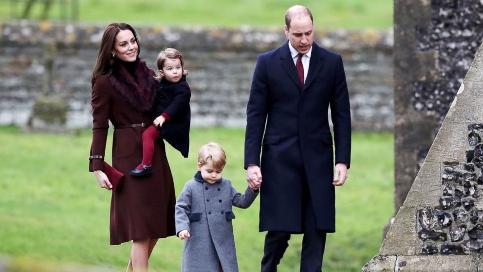 Britain's Prince William and Kate, the Duchess of Cambridge with their children Prince George and Princess Charlotte arrive to attend the morning Christmas Day service at St Mark's Church in Englefield, England, Dec. 25, 2016.