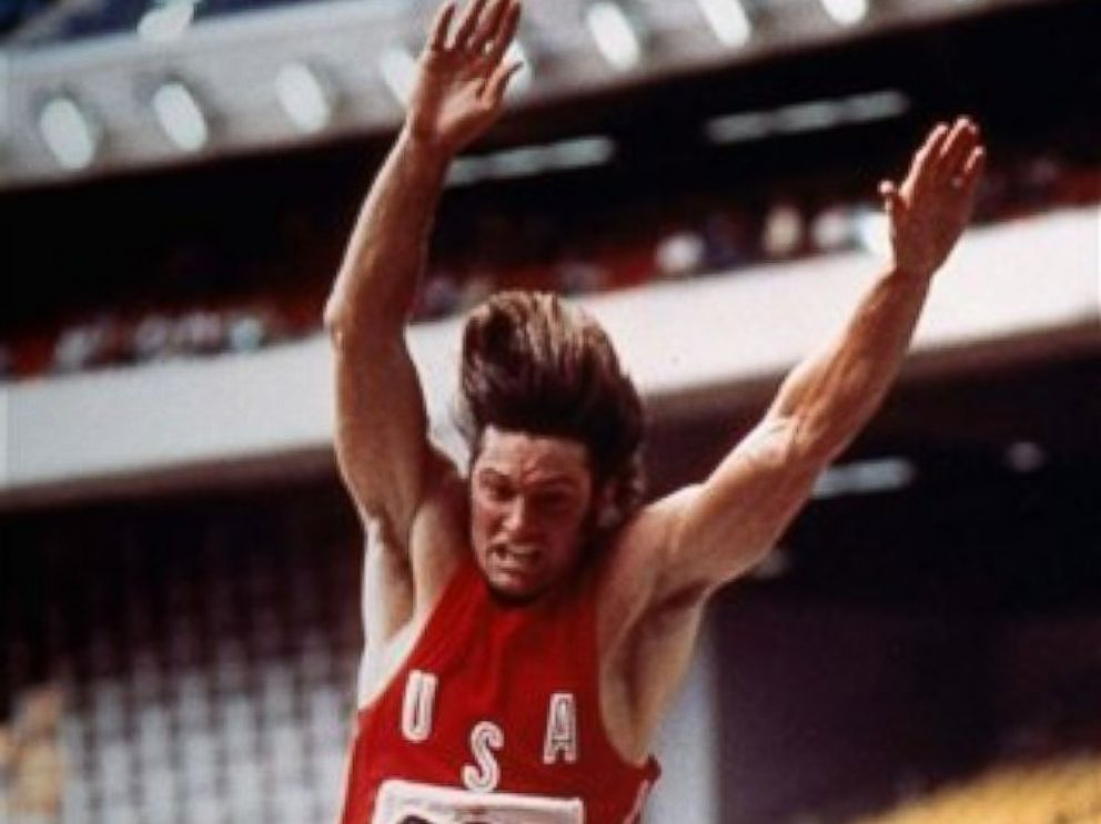 PHOTO: This July 26, 1976 file photo shows Bruce Jenner competing during the long jump event in the decathlon at the Summer Olympic games in Montreal, Canada.