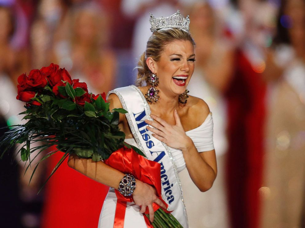 PHOTO: Miss New York Mallory Hytes Hagan reacts as she is crowned Miss America 2013 in this Jan. 12, 2013 file photo in Las Vegas.