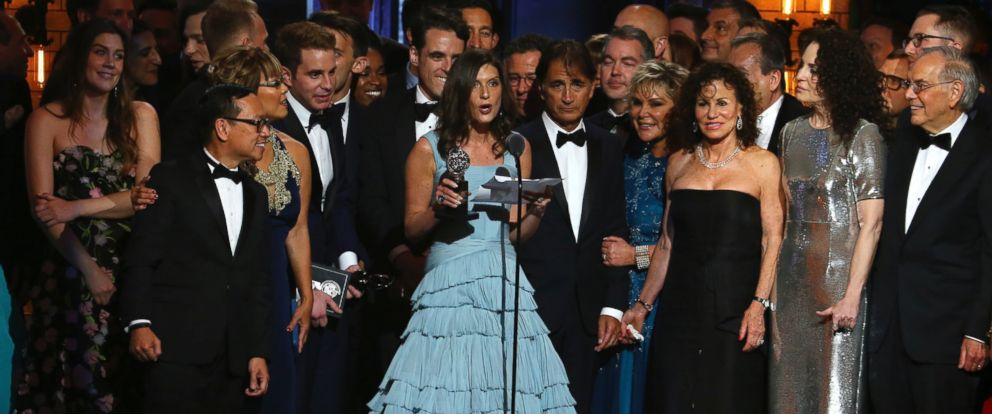 "PHOTO: Stacey Mindich and the cast and crew of ""Dear Evan Hansen"" accept the award for best musical at the 71st annual Tony Awards on Sunday, June 11, 2017, in New York."