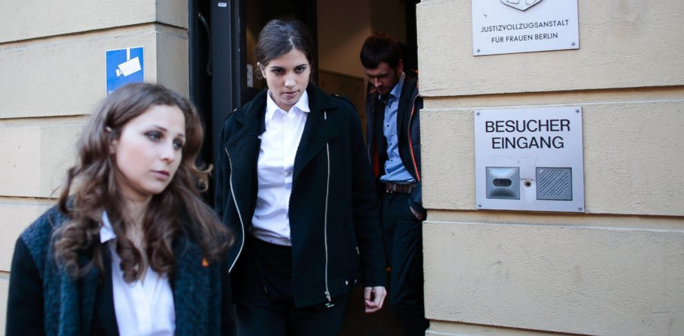 PHOTO: Nadezhda Tolokonnikova, center, and Maria Alekhina, left, members of Russian punk band Pussy Riot, leave after a visit to the womens prison at the district Lichtenberg in Berlin, Germany, Tuesday, Feb. 11, 2014.