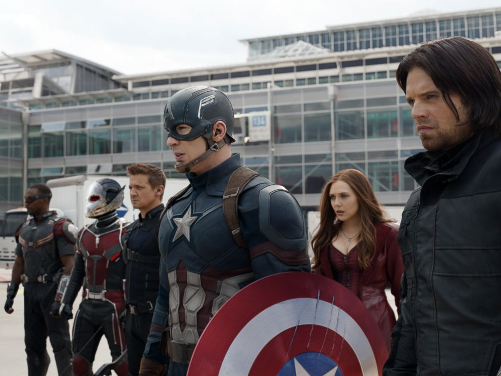 PHOTO: In this image released by Disney, Anthony Mackie, from left, Paul Rudd, Jeremy Renner, Chris Evans, Elizabeth Olsen and Sebastian Stan appear in a scene from Captain America: Civil War.