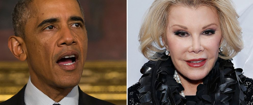 PHOTO: President Barack Obama at the White House, Sept. 18, 2014, in Washington. Right, Comedienne/ TV personality Joan Rivers attends the Mercedes-Benz Fashion Week Fall 2014, Feb. 11, 2014, in New York.