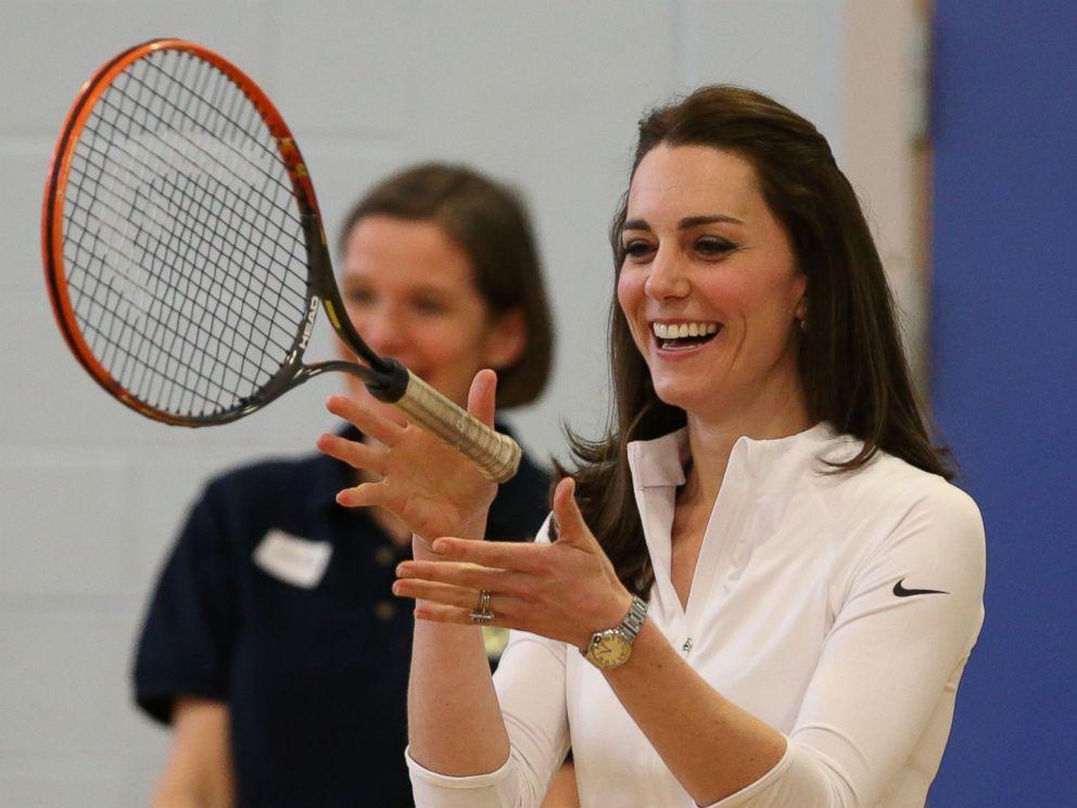 PHOTO: Kate Middleton, the Duchess of Cambridge takes part in a tennis workshop at Craigmount High School in Edinburgh, Scotland, Feb. 24, 2016.