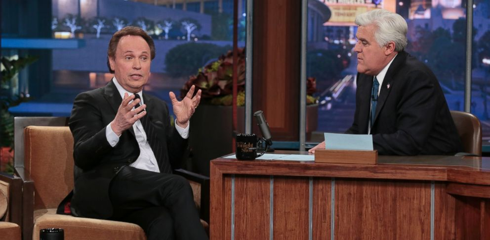 "PHOTO: Billy Crystal, left, appears on ""The Tonight Show"" with Jay Leno during Lenos final show, Thursday, Feb. 6, 2014, in Burbank, Calif."