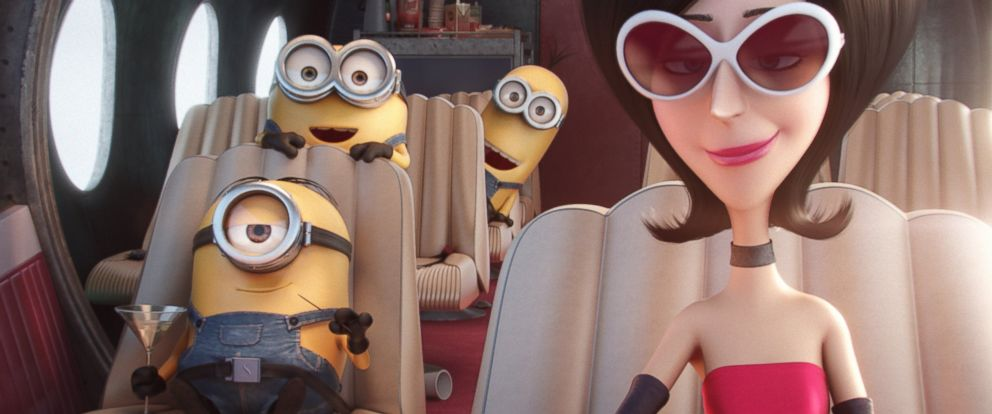 "PHOTO: n this image characters, from left, Stuart, Bob, Kevin and Scarlet Overkill, voiced by Sandra Bullock, appear in a scene from the animated feature, ""Minions."""