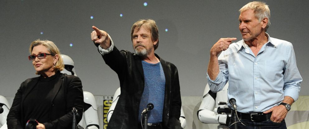 """PHOTO: Carrie Fisher, from left, Mark Hamill, and Harrison Ford attend Lucasfilms """"Star Wars: The Force Awakens"""" panel on day 2 of Comic-Con International on Friday, July 10, 2015, in San Diego, Calif."""