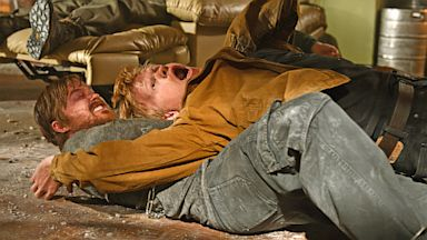 "PHOTO: Aaron Paul, as Jesse Pinkman, left, and Jesse Plemons, as Todd Alquist, struggle in a scene from the finale of ""Breaking Bad."""
