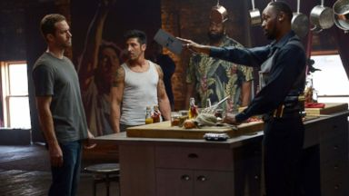 "PHOTO: From left, Paul Walker, David Belle, Kwasi Songui and RZA in a scene from ""Brick Mansions."""