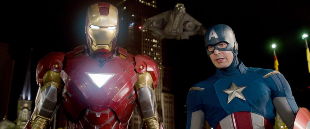 "PHOTO: Iron Man, portrayed by Robert Downey Jr., left, and Captain America, portrayed by Chris Evans, in a scene from ""The Avengers."""