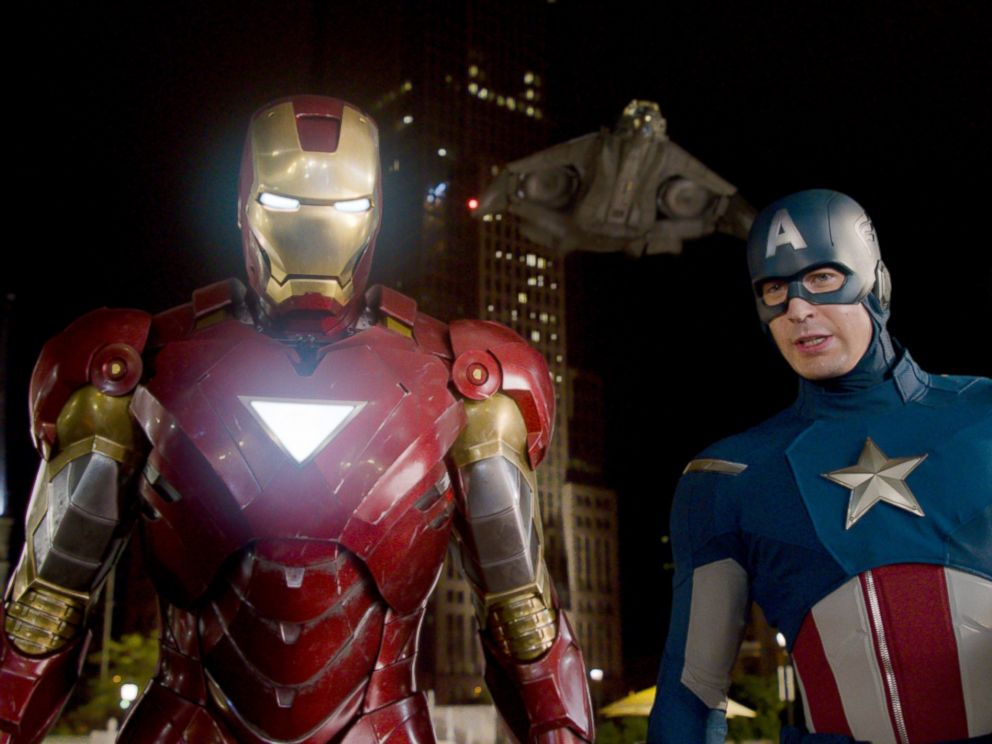 PHOTO: Iron Man, portrayed by Robert Downey Jr., left, and Captain America, portrayed by Chris Evans, in a scene from The Avengers.