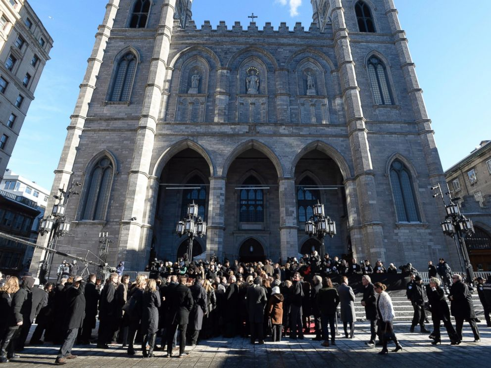 PHOTO: People gather at Notre-Dame Basilica in Montreal on Jan. 22, 2016, for the funeral for Rene Angelil, late husband of Celine Dion, who died on Jan. 14, at the age of 73.