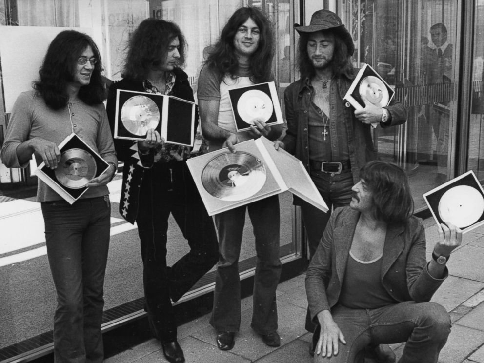 PHOTO: British rock band Deep Purple present their golden record they received in West Berlin for the sales of their latest album, Deep Purple in Rock, in West Germany, Sept. 1, 1971.