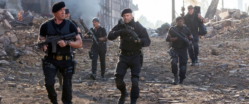 """PHOTO: Sylvester Stallone, left, and Jason Statham, center, in a scene from """"Expendables 3."""""""