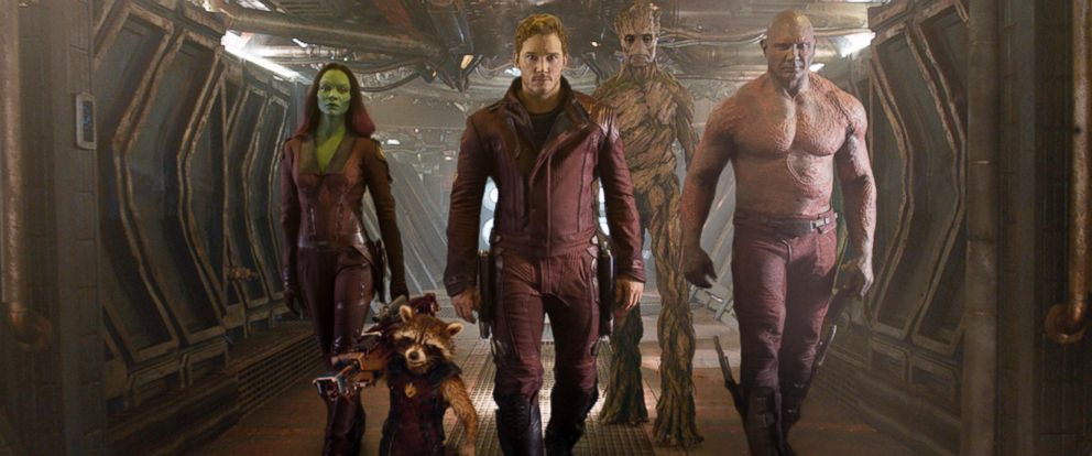 "PHOTO: This image released by Disney - Marvel shows, from left, Zoe Saldana, the character Rocket Raccoon, voiced by Bradley Cooper, Chris Pratt, the character Groot, voiced by Vin Diesel and Dave Bautista in a scene from ""Guardians of the Galaxy."""