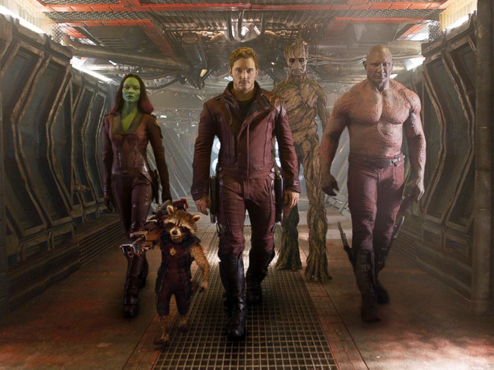PHOTO: This image released by Disney - Marvel shows, from left, Zoe Saldana, the character Rocket Raccoon, voiced by Bradley Cooper, Chris Pratt, the character Groot, voiced by Vin Diesel and Dave Bautista in a scene from Guardians of the Galaxy.