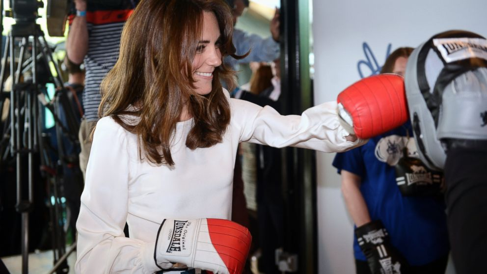 Kate, the Duchess of Cambridge, boxes with former boxer Duke McKenzie during the launch of Heads Together, the ambitious new campaign to end stigma on mental health, at the Olympic Park in London, May 16, 2016.