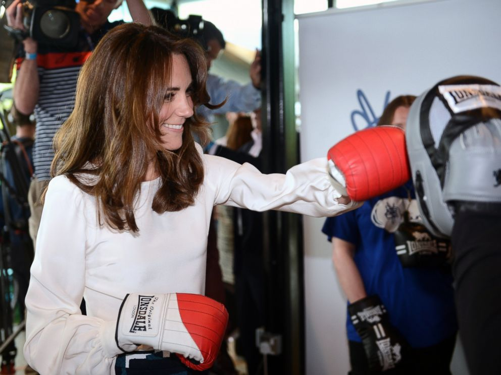 PHOTO:Kate, the Duchess of Cambridge, boxes with former boxer Duke McKenzie during the launch of Heads Together, the ambitious new campaign to end stigma on mental health, at the Olympic Park in London, May 16, 2016.