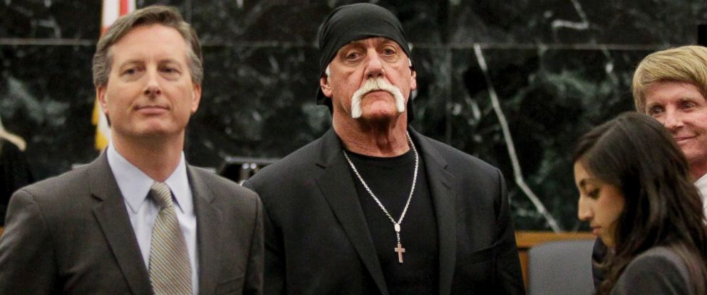 PHOTO: Hulk Hogan, whose given name is Terry Bollea, center, looks on in court moments after a jury returned its decision, March 21, 2016, in St. Petersburg, Fla.