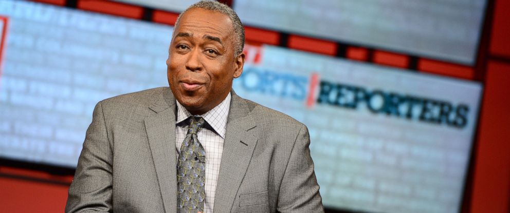 "PHOTO: John Saunders poses on the set of ""The Sports Reporters"" in Bristol, Conn., May 12, 2013."