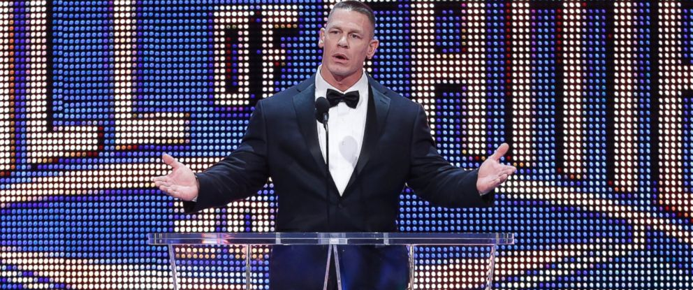 PHOTO:John Cena on stage at the WWE Hall of Fame, April 2, 2016, in Dallas.