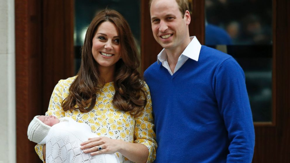 Britain's Prince William and Kate, Duchess of Cambridge and their newborn baby princess, pose for the media as they leave St. Mary's Hospital's exclusive Lindo Wing, London, Saturday, May 2, 2015.  Kate, the Duchess of Cambridge, gave birth to a baby girl on Saturday morning.