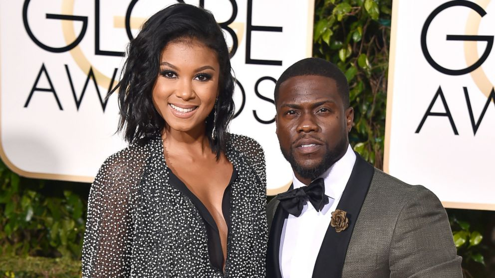 In this Jan. 10, 2016, file photo, Eniko Parrish, left, and Kevin Hart arrive at the 73rd annual Golden Globe Awards in Beverly Hills, California.