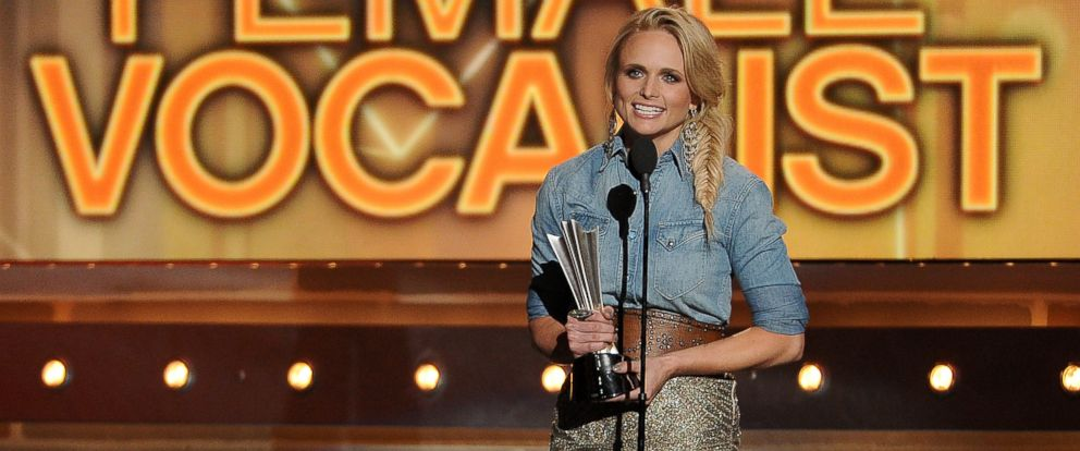PHOTO: Miranda Lambert accepts the award for female vocalist of the year at the 49th annual Academy of Country Music Awards, April 6, 2014, in Las Vegas.