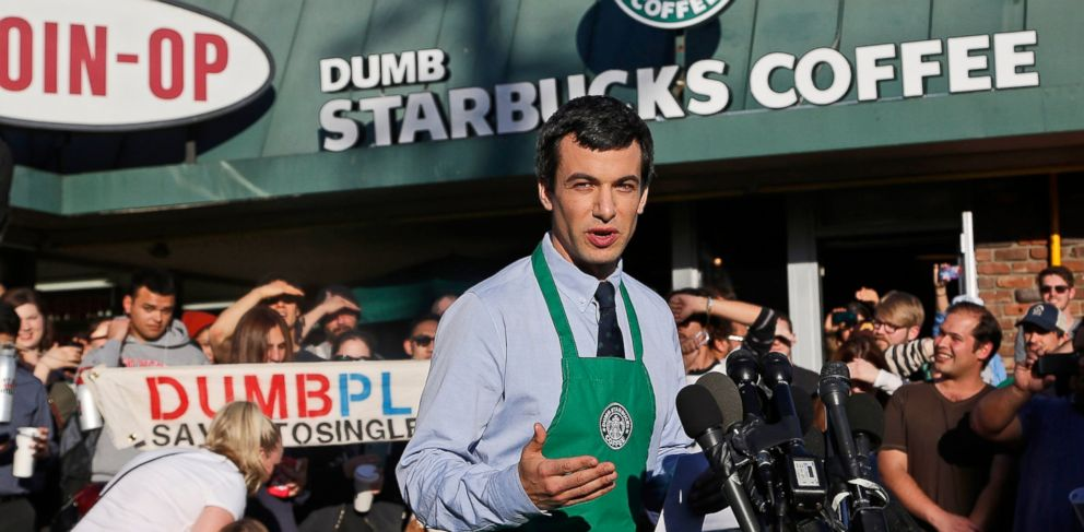 "PHOTO: Comedian Nathan Fielder comes forward as the brainchild of ""Dumb Starbucks,"" a parody store that resembles a Starbucks with the word ""Dumb"" attached above the Starbucks sign, Feb. 11, 2014."