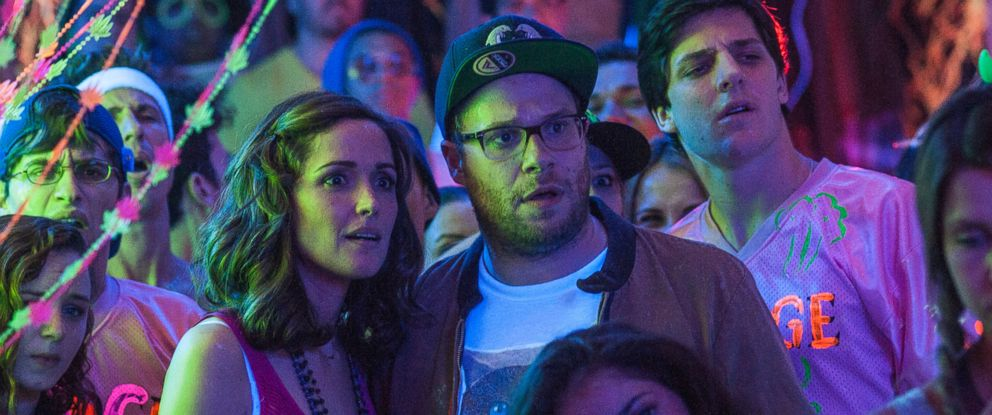 """PHOTO: This image released by Universal Pictures shows Rose Byrne, left, and Seth Rogen in a scene from """"Neighbors."""""""