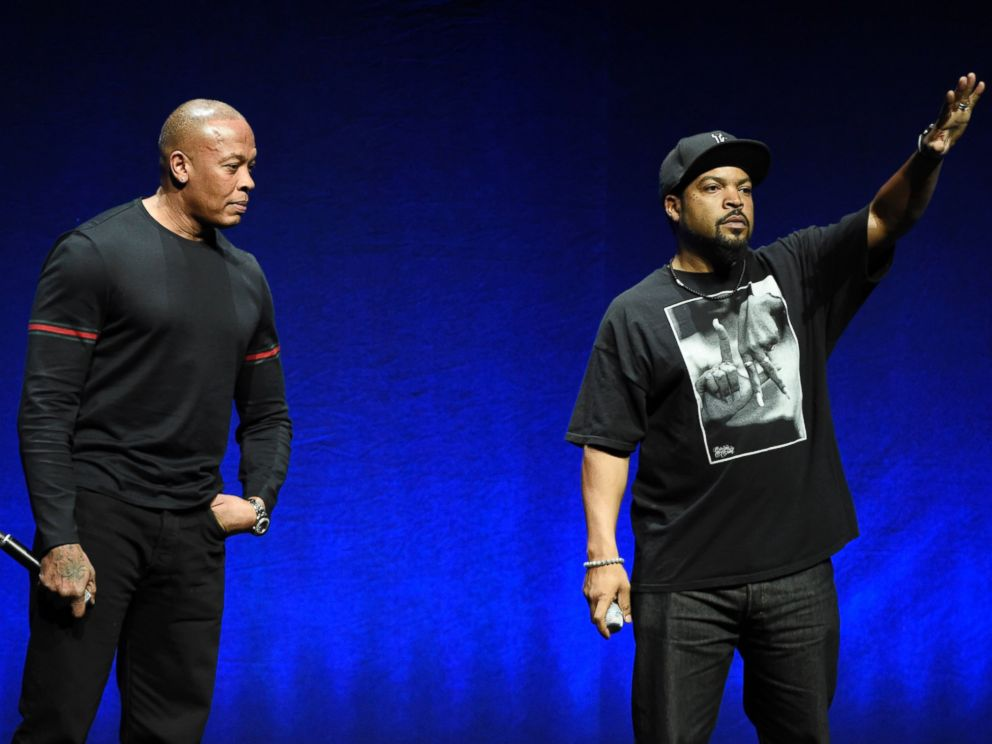 PHOTO: N.W.A. members Dr. Dre, left, and Ice Cube, appear onstage in Las Vegas, April 23, 2015.