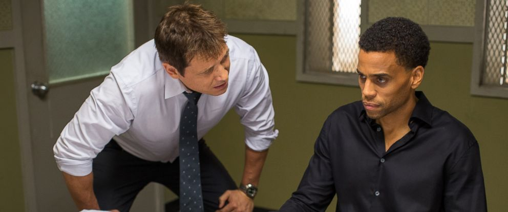 """PHOTO: Holt McCallany, left, as Detective Hansen, interrogates Michael Ealy as Carter in a still from """"The Perfect Guy."""""""