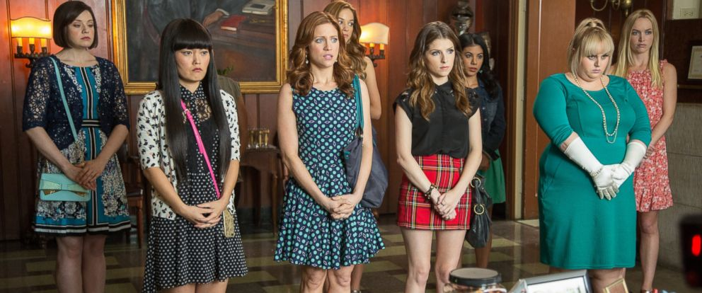 """PHOTO: From left, Shelley Regner, Hana Mae Lee, Brittany Snow, Alexis Knapp, Anna Kendrick, Chrissie Fit, Rebel Wilson, and Kelley Alice Jakle in a scene from the film, """"Pitch Perfect 2."""""""