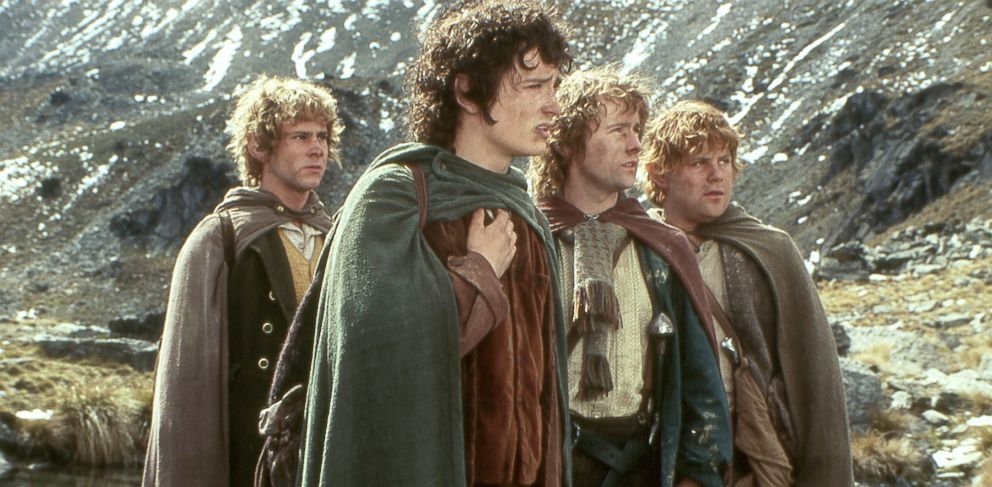 "PHOTO: From left, Dominic Monaghan as Merry, Elijah Wood as Frodo, Billy Boyd as Pippin and Sean Astin as Sam are shown in a scene from New Line Cinemas ""The Lord of the Rings: Fellowship of the Ring."""