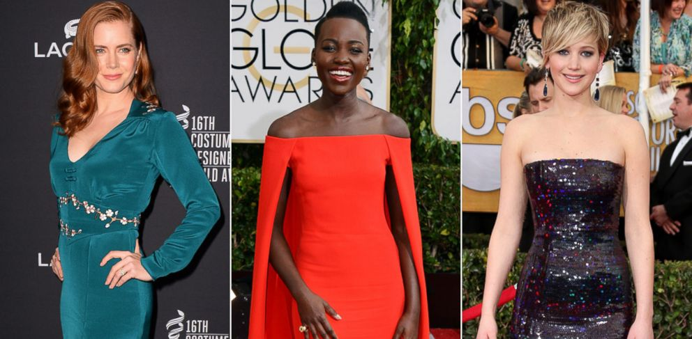 PHOTO: From right, Amy Adams, Feb. 22, 2014, in Beverly Hills, Calif.; Lupita Nyongo at the Golden Globe Awards, Jan. 12, 2014, in Beverly Hills; Jennifer Lawrence arrives at the Screen Actors Guild Awards, Jan. 8, 2014, in Los Angeles.