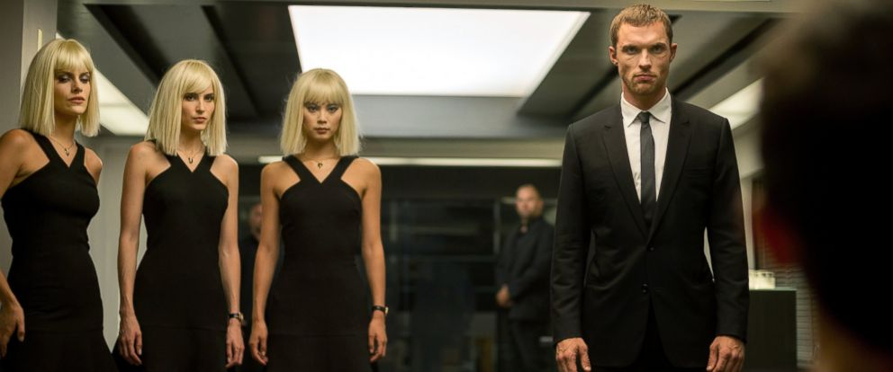"""PHOTO: Tatiana Pajkovic, from left, as Maria, Loan Chabonal, as Anna, Yu Wenxia, as Qiao, and Ed Skrein, as Frank Martin, in EuropaCorps """"The Transporter Refueled."""""""