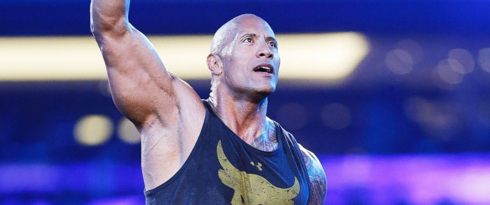 """PHOTO: Dwayne """"The Rock"""" Johnson makes a special appearance at WWE WrestleMania 32 at AT&T Stadium, April 3, 2016, in Arlington, Texas."""