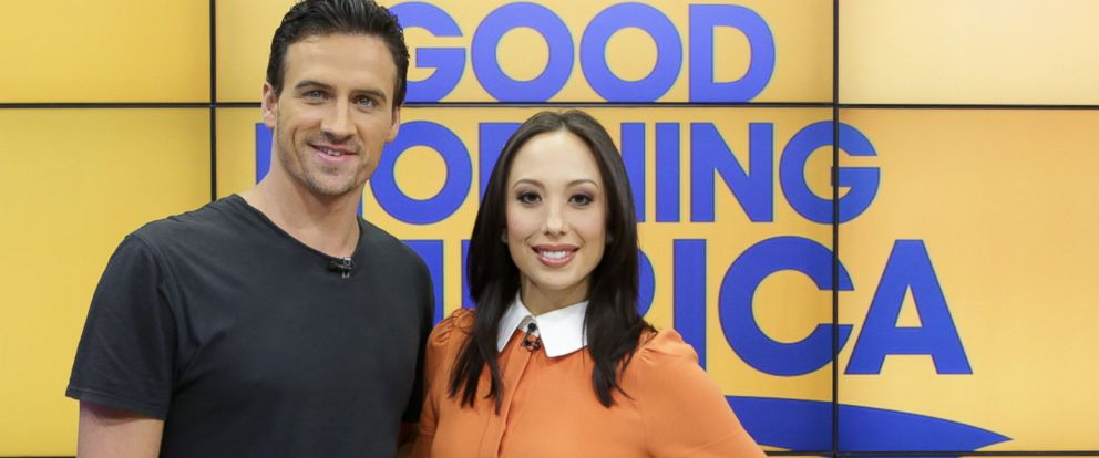 "PHOTO: Cheryl Burke and Ryan Lochte appeared on ""Good Morning America"" to discuss their elimination in week eight of season 23 of ""Dancing With the Stars."""