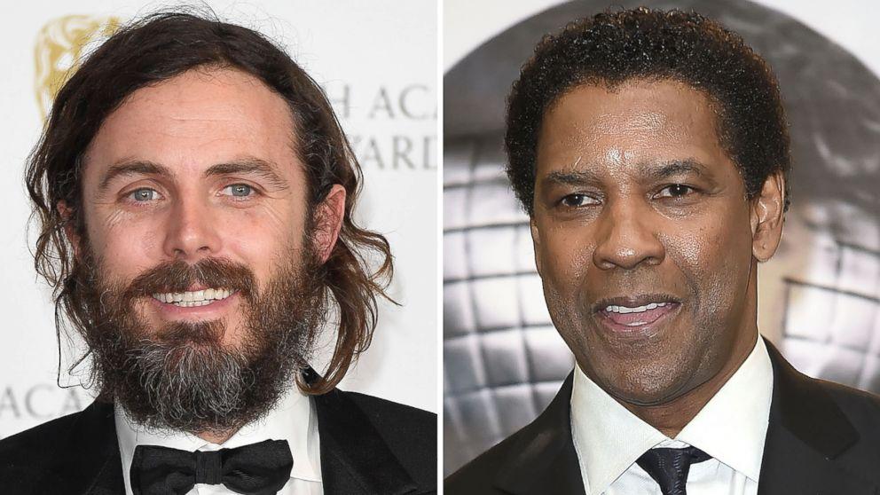 Casey Affleck, left, and Denzel Washington, right.