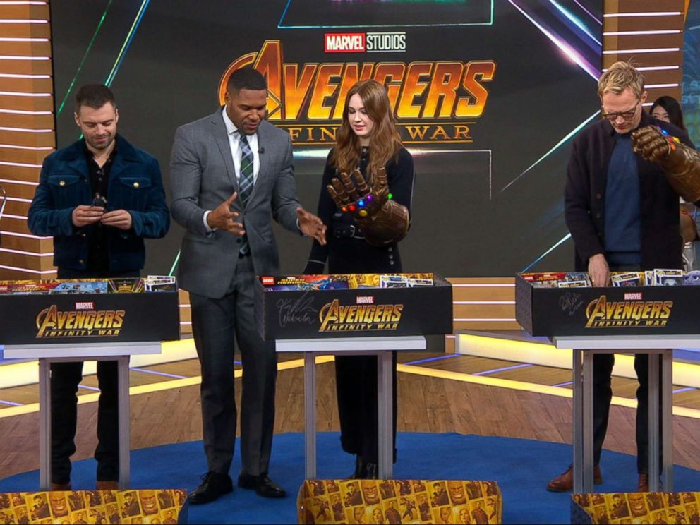 PHOTO: Stars of Marvels Avengers Infinity War pose with action figures for a new charitable campaign.