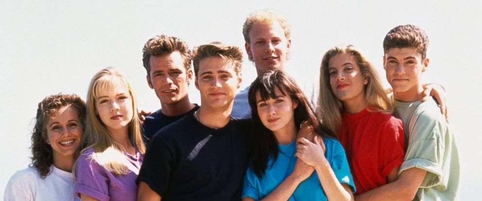 PHOTO: Cast of Beverly Hills, 90210 taken on Aug. 1, 1991.