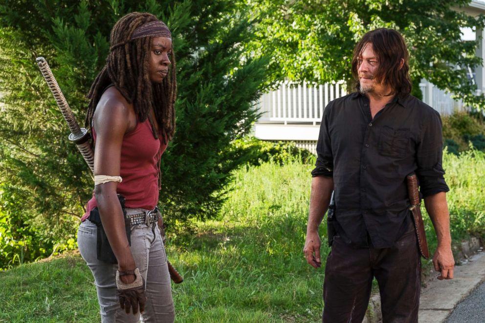 PHOTO: Danai Gurira as Michonne, Norman Reedus as Daryl Dixon in The Walking Dead, Season 8, Episode 8 on AMC.