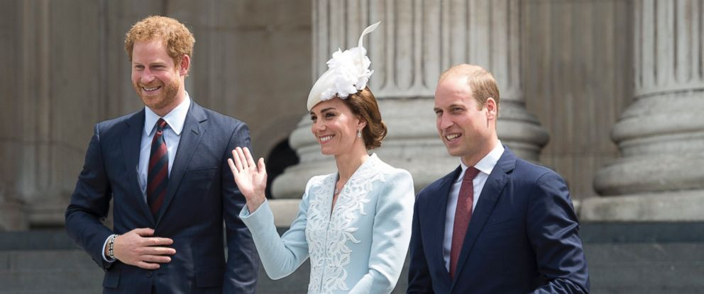 PHOTO: Prince Harry, Catherine, The Duchess of Cambridge and her husband, Prince William leave St. Pauls Cathedral in London on June 10, 2016, after attending the National Service of Thanksgiving to mark the 90th birthday of Queen Elizabeth II.